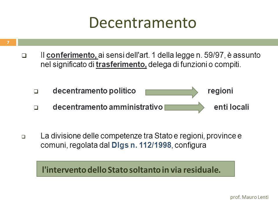 Decentramento Il conferimento, ai sensi dell art. 1 della legge n. 59/97, è assunto nel significato di trasferimento, delega di funzioni o compiti.