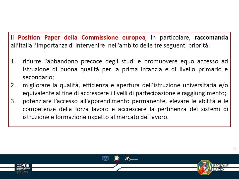 Il Position Paper della Commissione europea, in particolare, raccomanda all'Italia l'importanza di intervenire nell'ambito delle tre seguenti priorità: