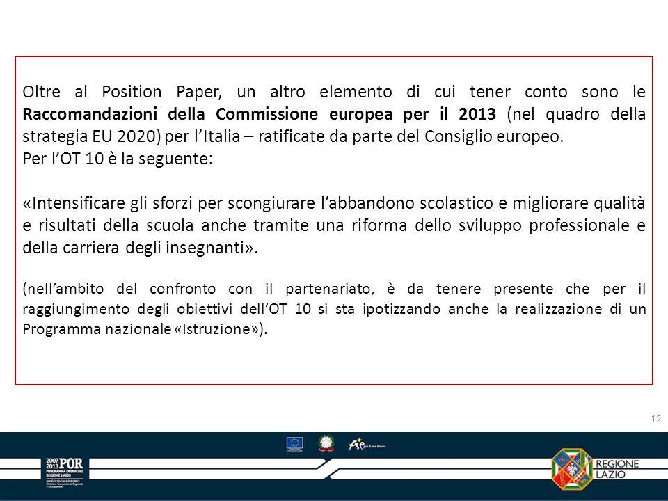 Oltre al Position Paper, un altro elemento di cui tener conto sono le Raccomandazioni della Commissione europea per il 2013 (nel quadro della strategia EU 2020) per l'Italia – ratificate da parte del Consiglio europeo.