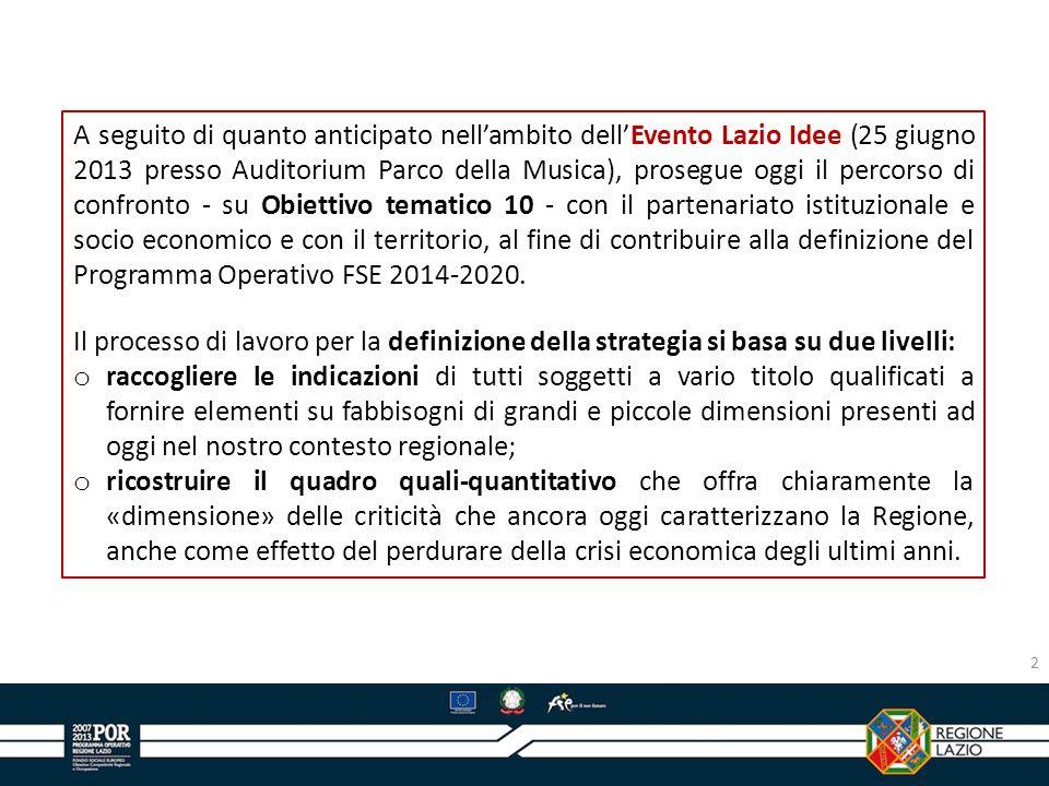 A seguito di quanto anticipato nell'ambito dell'Evento Lazio Idee (25 giugno 2013 presso Auditorium Parco della Musica), prosegue oggi il percorso di confronto - su Obiettivo tematico 10 - con il partenariato istituzionale e socio economico e con il territorio, al fine di contribuire alla definizione del Programma Operativo FSE 2014-2020.