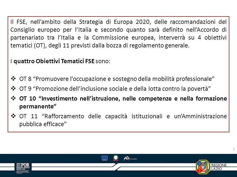 Il FSE, nell'ambito della Strategia di Europa 2020, delle raccomandazioni del Consiglio europeo per l'Italia e secondo quanto sarà definito nell'Accordo di partenariato tra l'Italia e la Commissione europea, interverrà su 4 obiettivi tematici (OT), degli 11 previsti dalla bozza di regolamento generale.