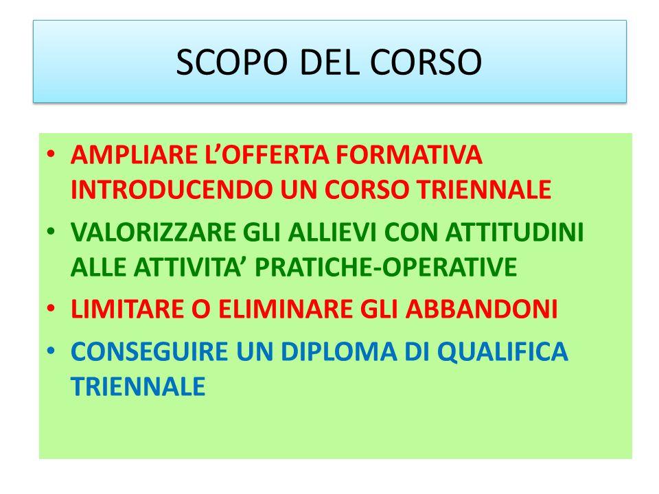 SCOPO DEL CORSO AMPLIARE L'OFFERTA FORMATIVA INTRODUCENDO UN CORSO TRIENNALE.