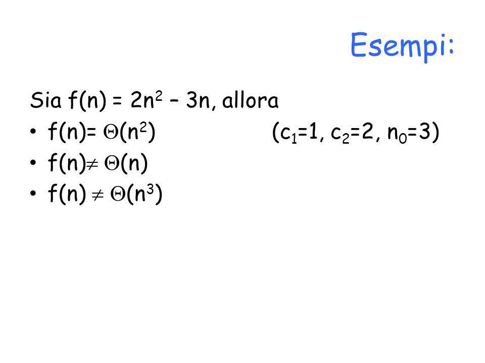 Esempi: Sia f(n) = 2n2 – 3n, allora f(n)= (n2) (c1=1, c2=2, n0=3)