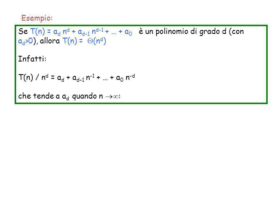 Esempio: Se T(n) = ad nd + ad-1 nd-1 + … + a0 è un polinomio di grado d (con ad>0), allora T(n) = (nd)