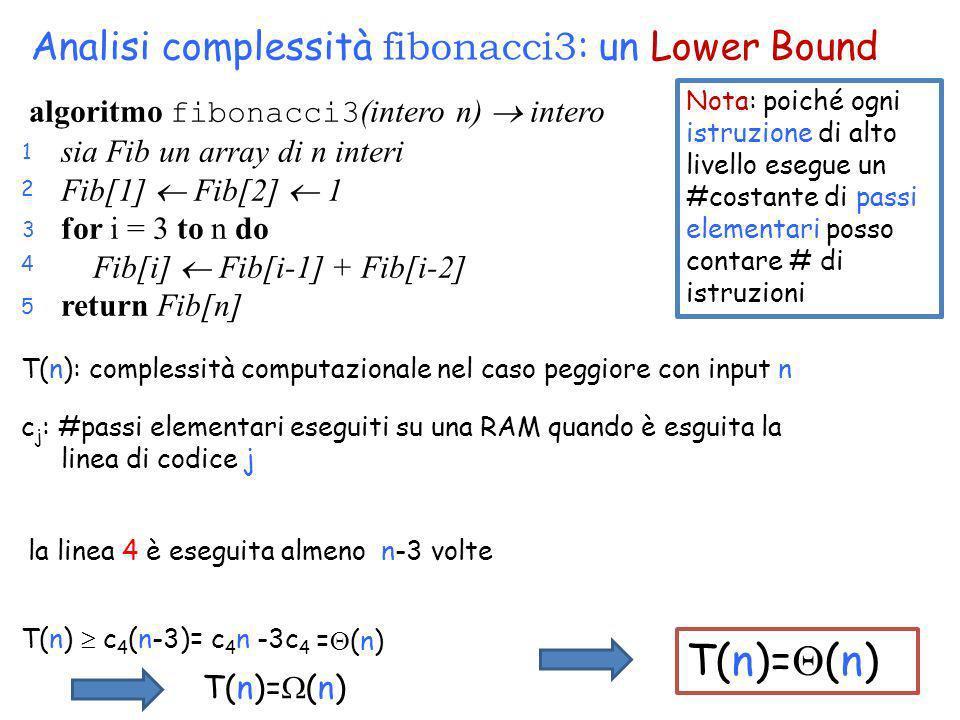 Analisi complessità fibonacci3: un Lower Bound