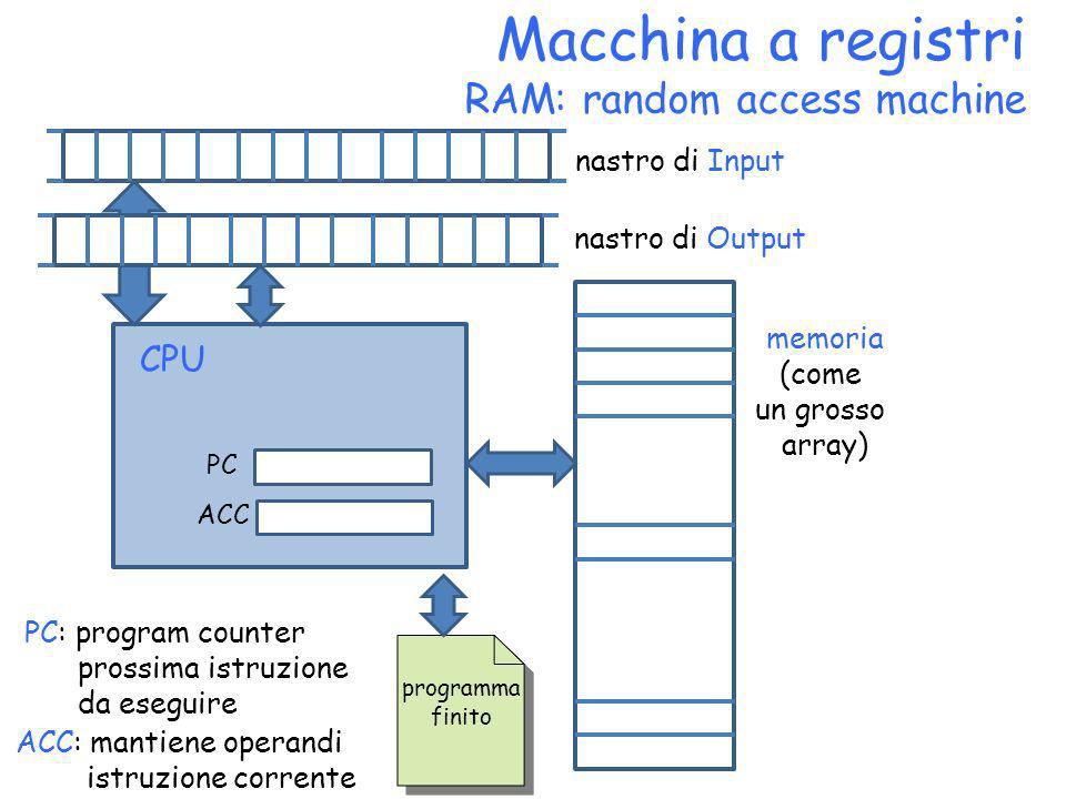 Macchina a registri RAM: random access machine