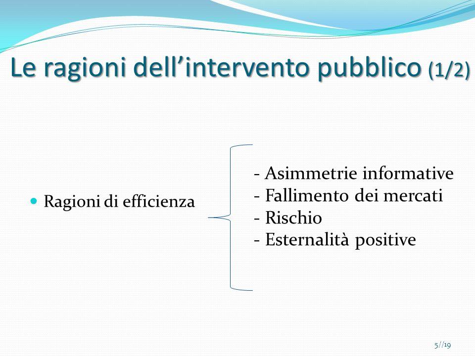 Le ragioni dell'intervento pubblico (1/2)