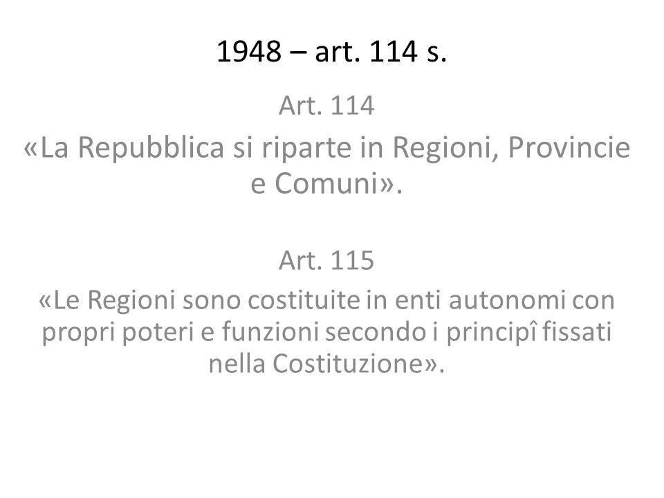 «La Repubblica si riparte in Regioni, Provincie e Comuni».
