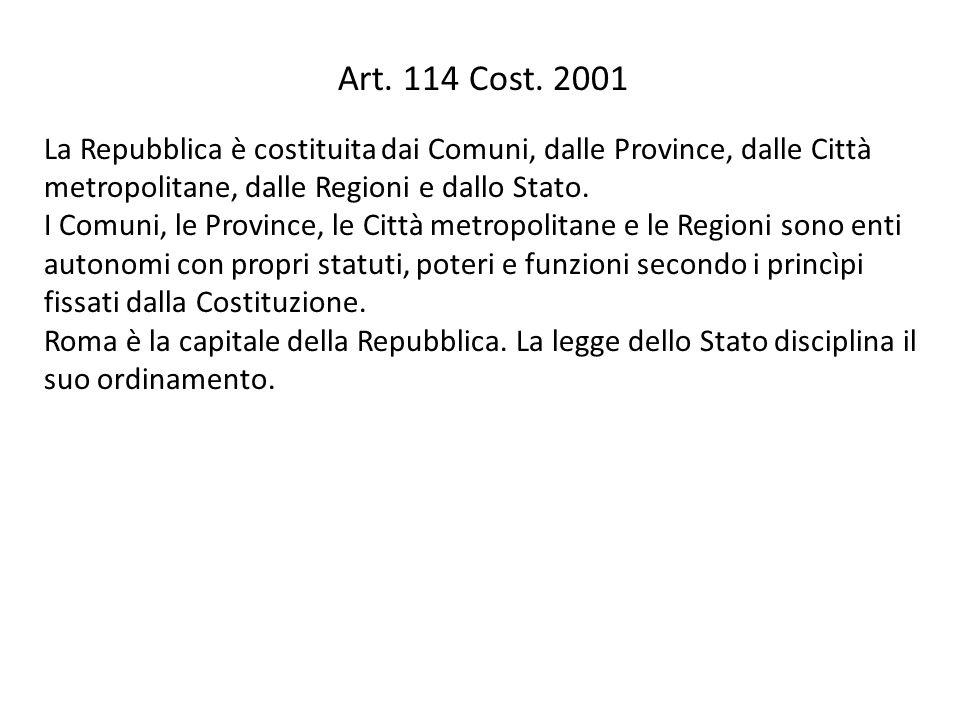 Art. 114 Cost. 2001 La Repubblica è costituita dai Comuni, dalle Province, dalle Città metropolitane, dalle Regioni e dallo Stato.