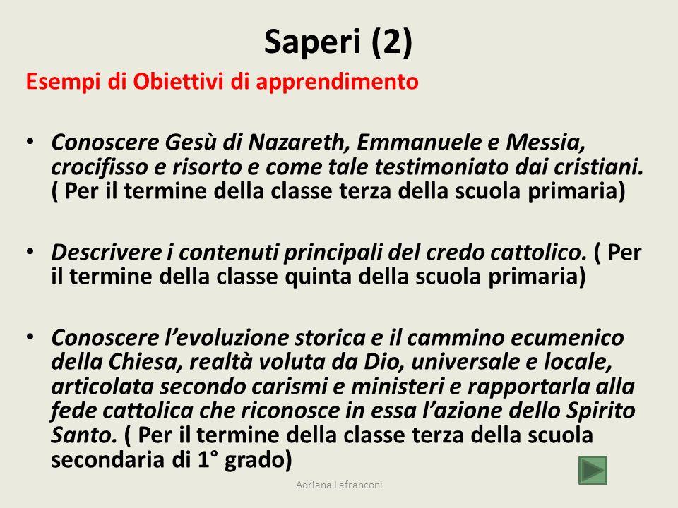 Saperi (2) Esempi di Obiettivi di apprendimento