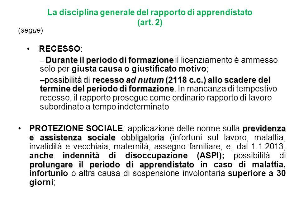 La disciplina generale del rapporto di apprendistato (art. 2)