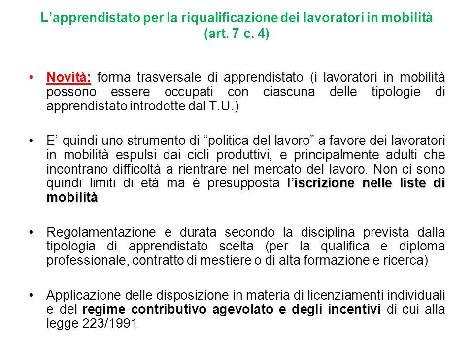 L'apprendistato per la riqualificazione dei lavoratori in mobilità (art. 7 c. 4)