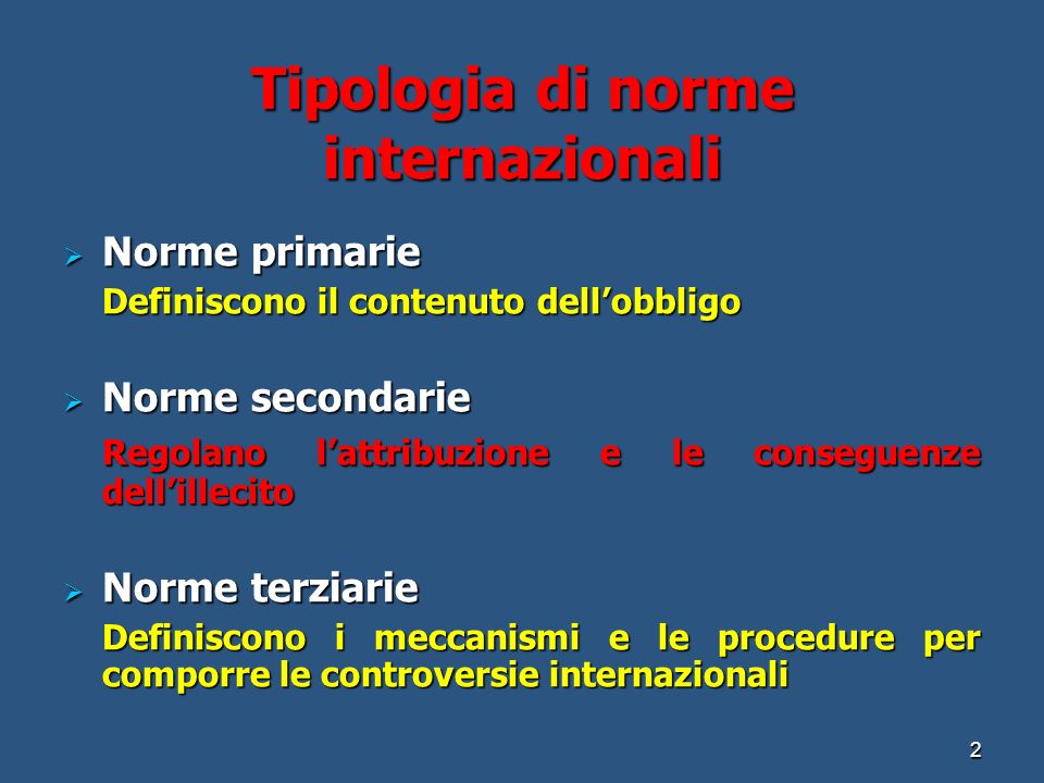 Tipologia di norme internazionali