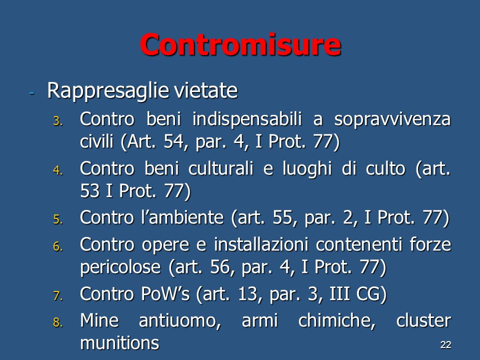 Contromisure Rappresaglie vietate