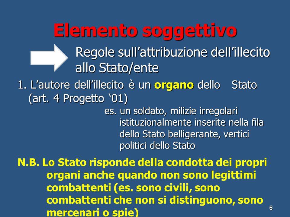 Elemento soggettivo Regole sull'attribuzione dell'illecito allo Stato/ente.