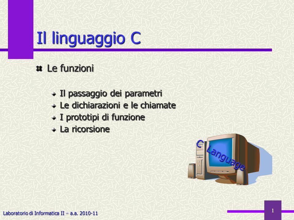 Il linguaggio C Le funzioni C Language Il passaggio dei parametri