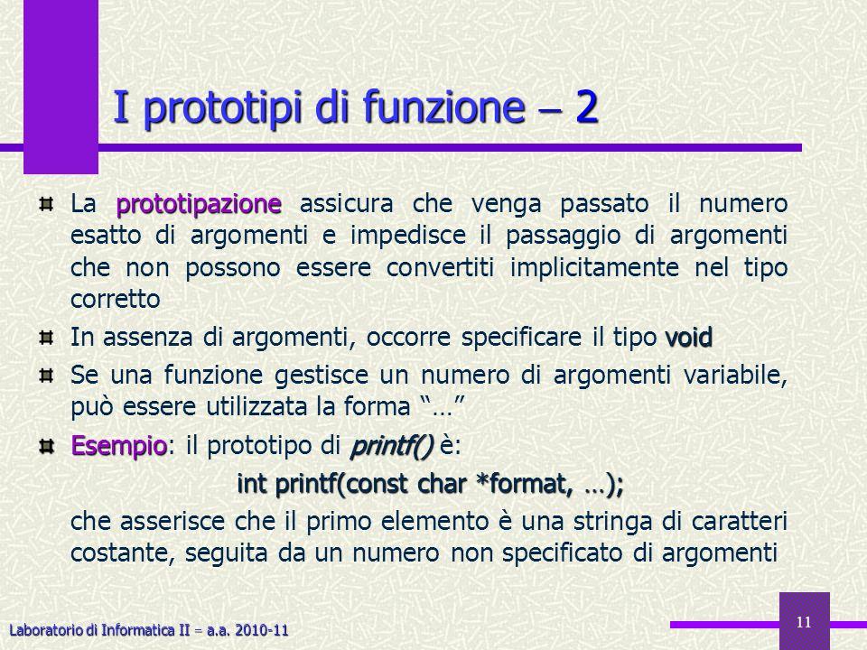 I prototipi di funzione  2