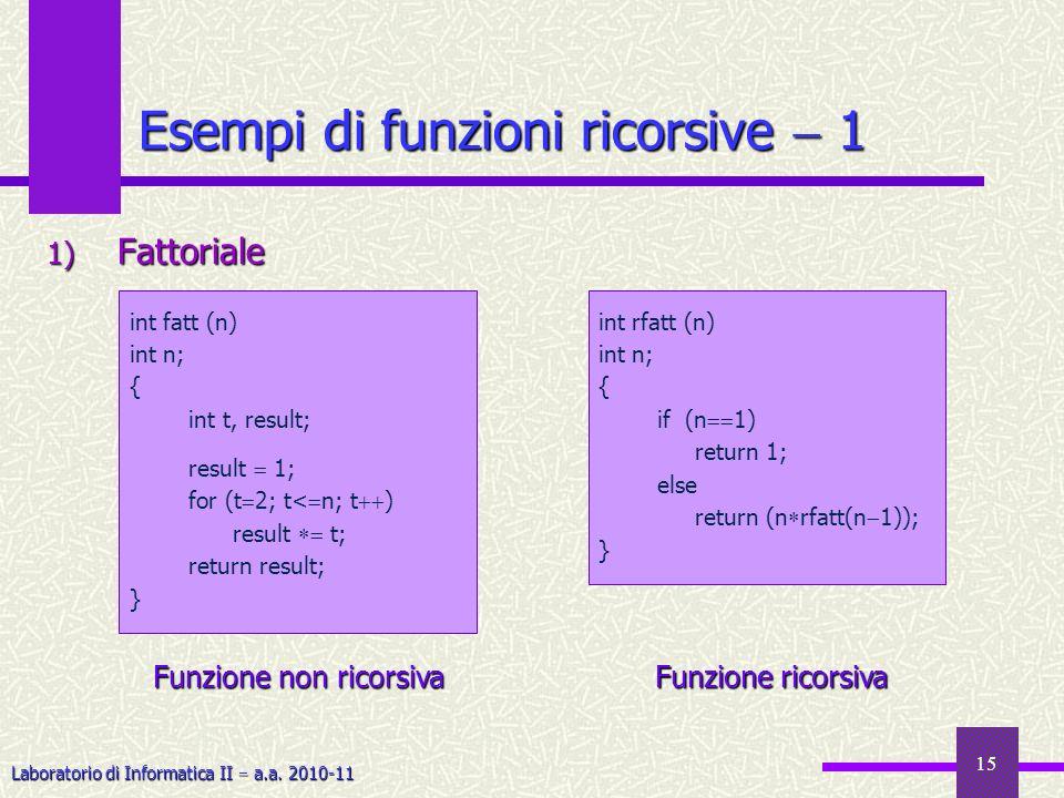 Esempi di funzioni ricorsive  1