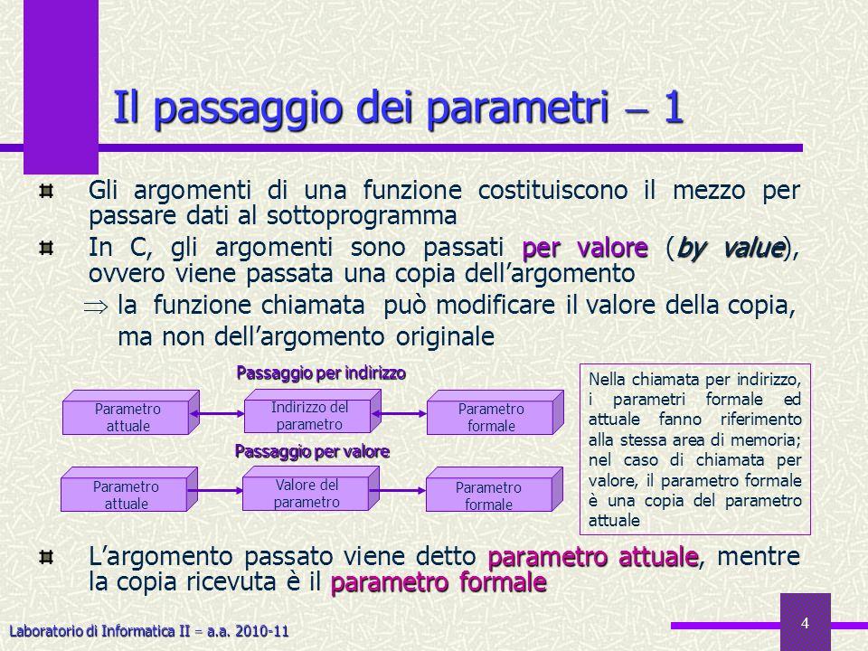 Il passaggio dei parametri  1