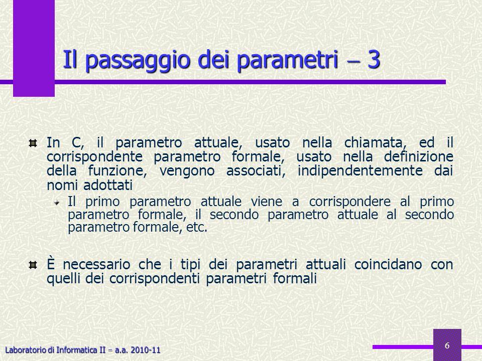 Il passaggio dei parametri  3