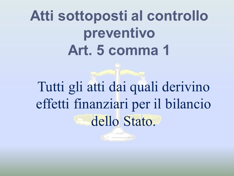 Atti sottoposti al controllo preventivo Art. 5 comma 1