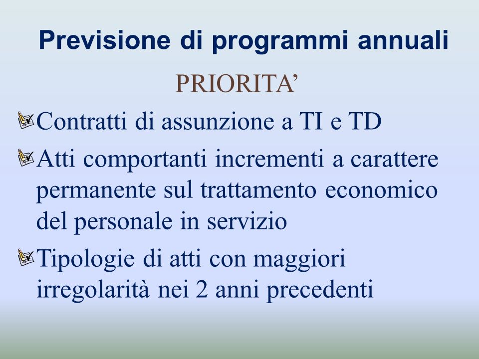 Previsione di programmi annuali