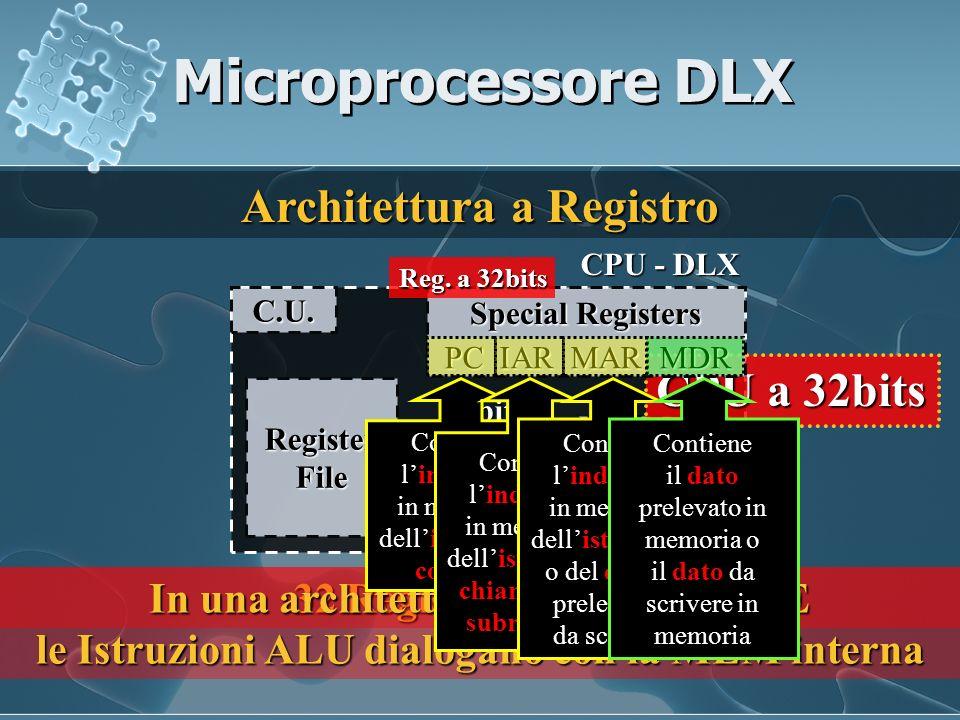 Microprocessore DLX Architettura a Registro CPU a 32bits ALU