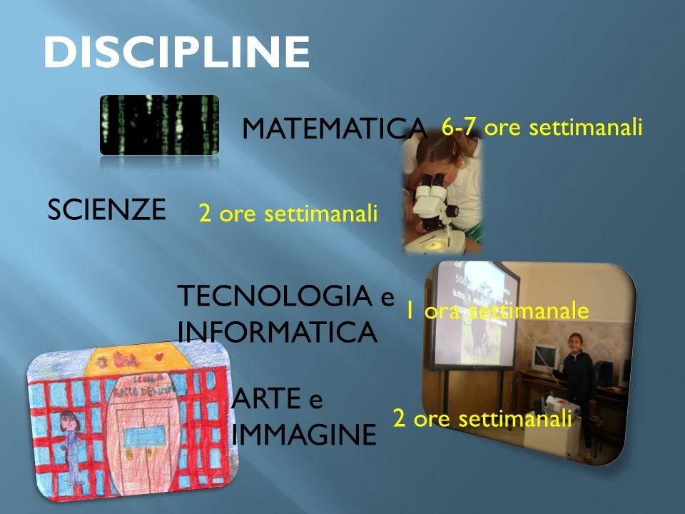 DISCIPLINE MATEMATICA SCIENZE TECNOLOGIA e INFORMATICA ARTE e IMMAGINE