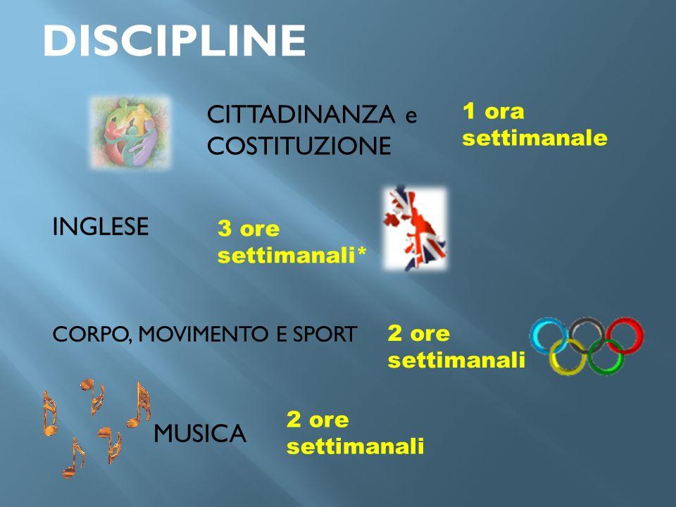 DISCIPLINE CITTADINANZA e COSTITUZIONE INGLESE MUSICA