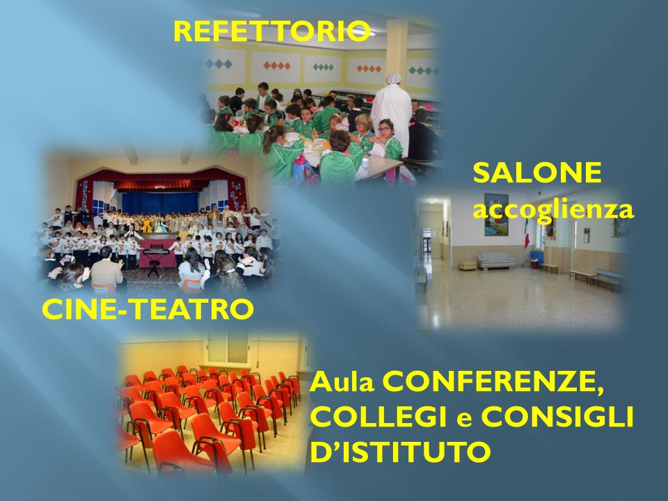REFETTORIO SALONE accoglienza CINE-TEATRO Aula CONFERENZE, COLLEGI e CONSIGLI D'ISTITUTO