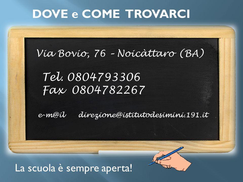 DOVE e COME TROVARCI Tel. 0804793306 Fax 0804782267