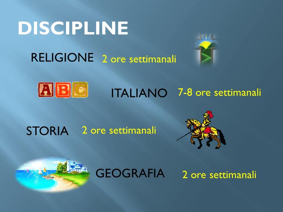 DISCIPLINE RELIGIONE ITALIANO STORIA GEOGRAFIA 2 ore settimanali