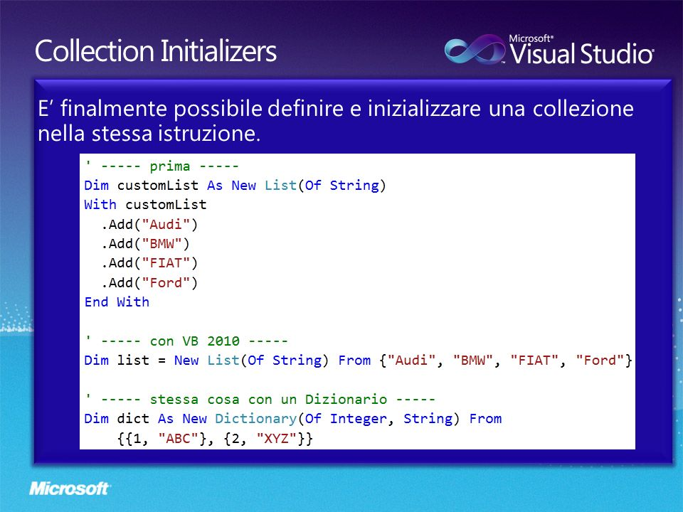 Collection Initializers