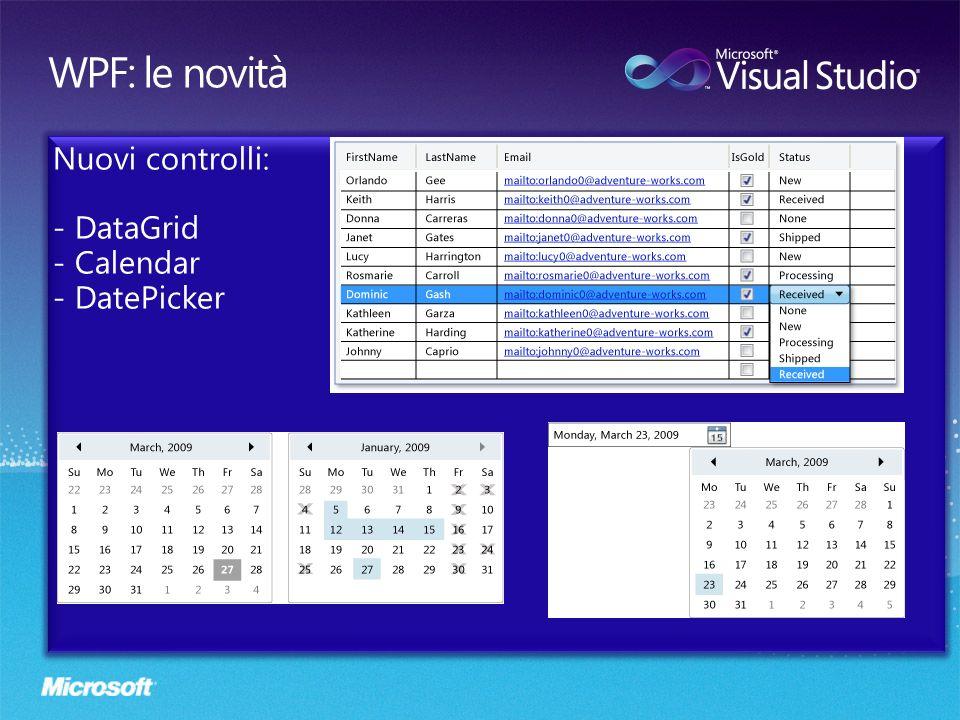 Nuovi controlli: DataGrid Calendar DatePicker