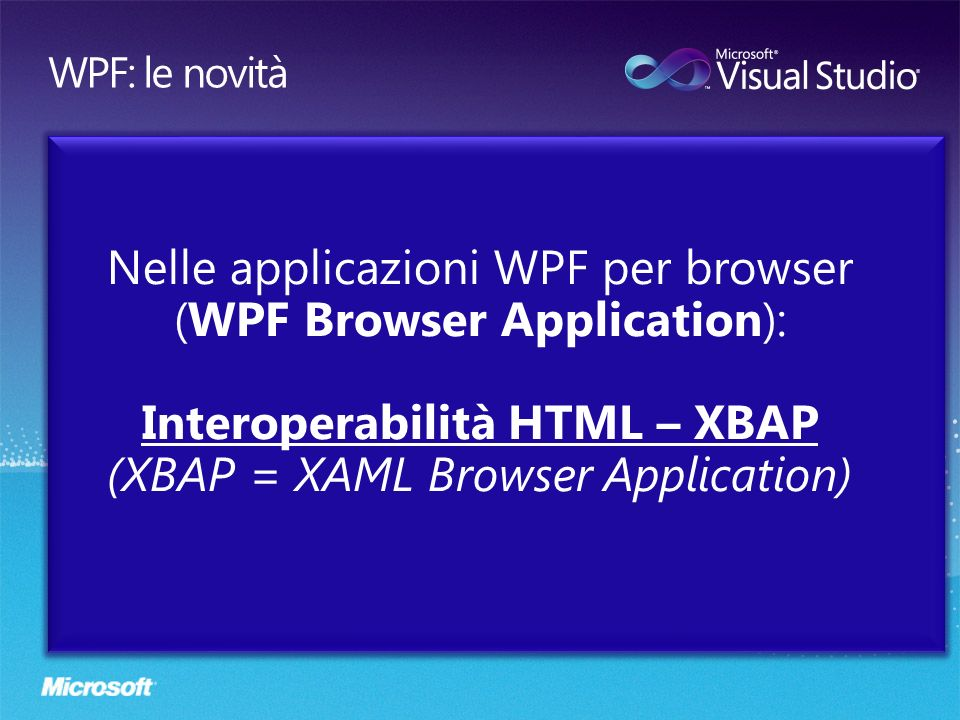 Interoperabilità HTML – XBAP