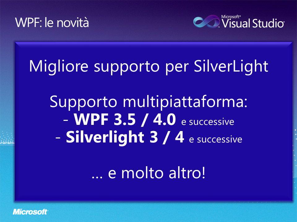 Migliore supporto per SilverLight Supporto multipiattaforma: