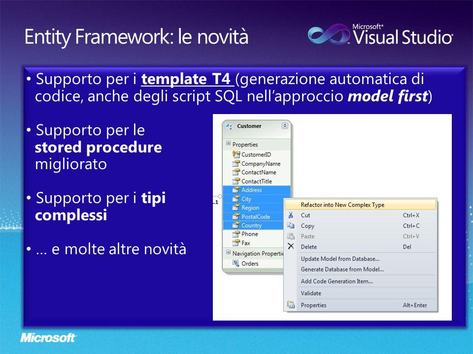 Entity Framework: le novità
