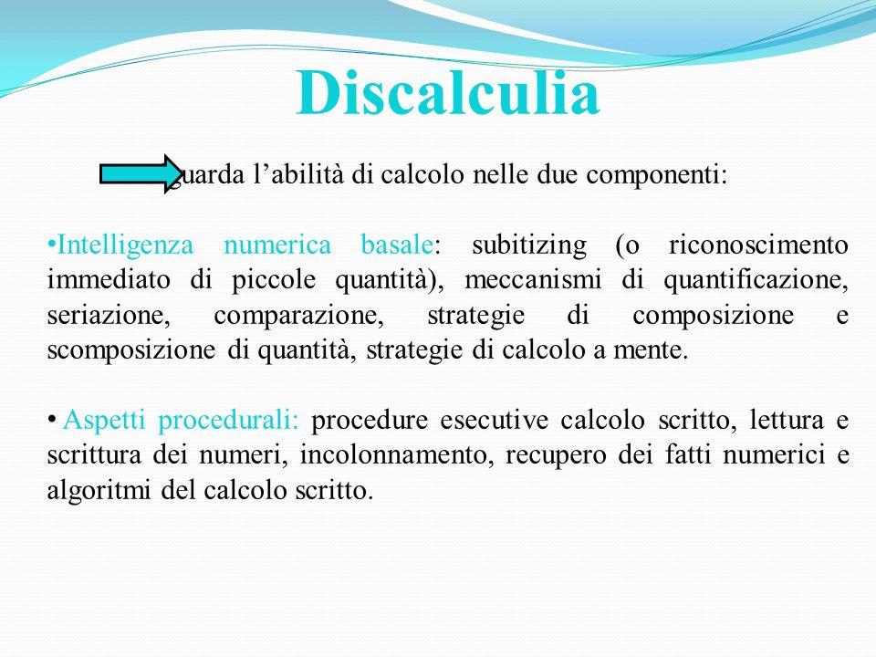 Discalculia riguarda l'abilità di calcolo nelle due componenti: