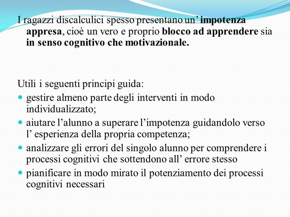 I ragazzi discalculici spesso presentano un' impotenza appresa, cioè un vero e proprio blocco ad apprendere sia in senso cognitivo che motivazionale.