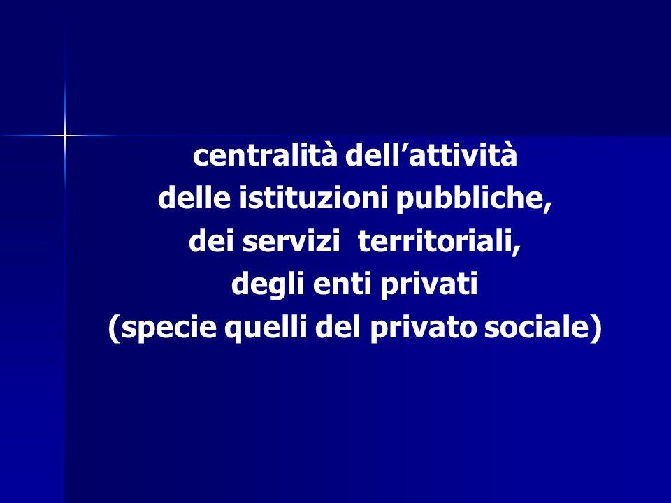 centralità dell'attività delle istituzioni pubbliche,