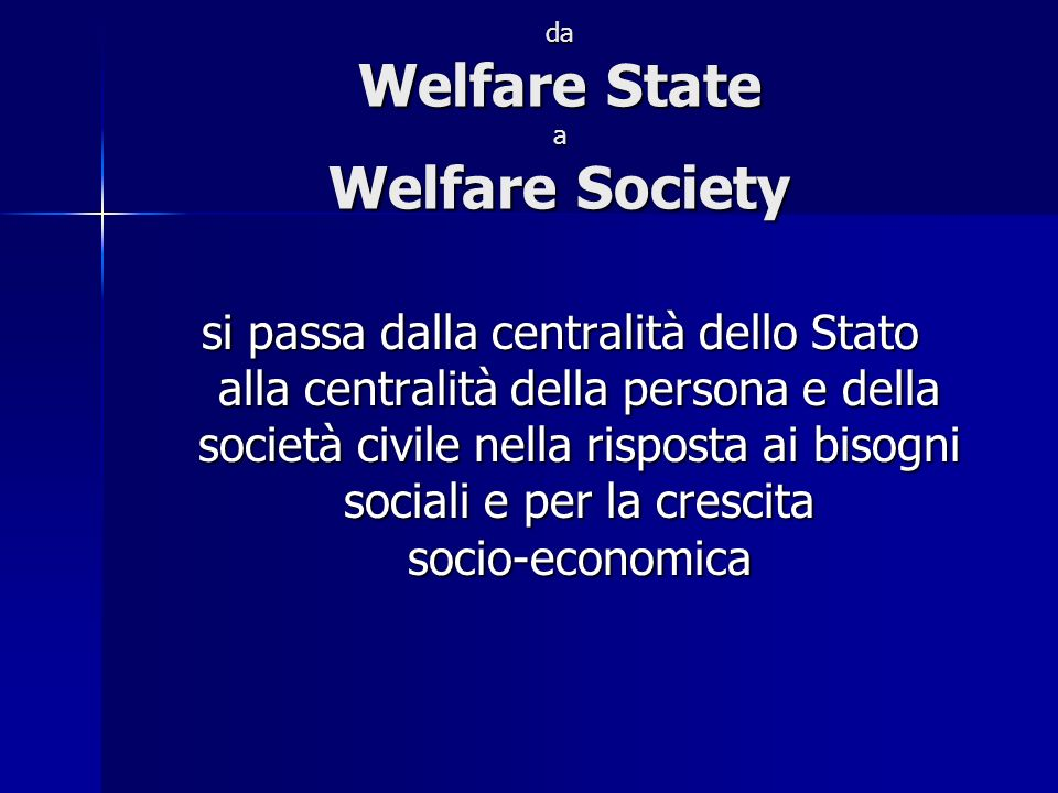 da Welfare State a Welfare Society