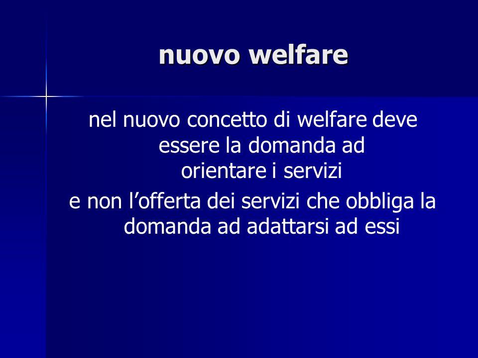 nuovo welfare nel nuovo concetto di welfare deve essere la domanda ad orientare i servizi.