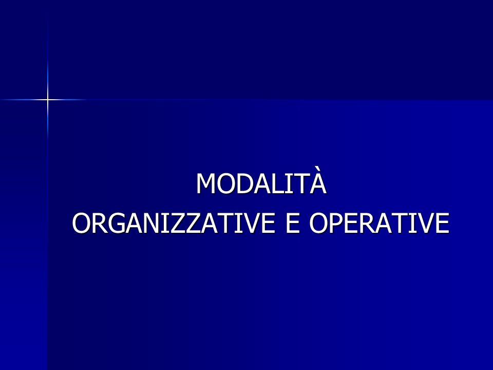 ORGANIZZATIVE E OPERATIVE