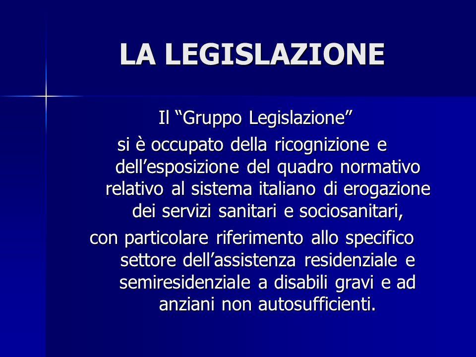 LA LEGISLAZIONE Il Gruppo Legislazione