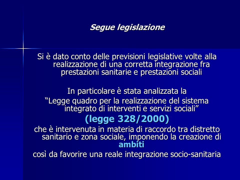 (legge 328/2000) Segue legislazione