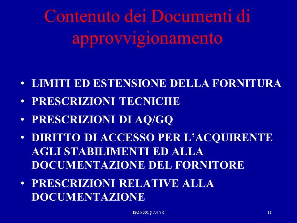 Contenuto dei Documenti di approvvigionamento
