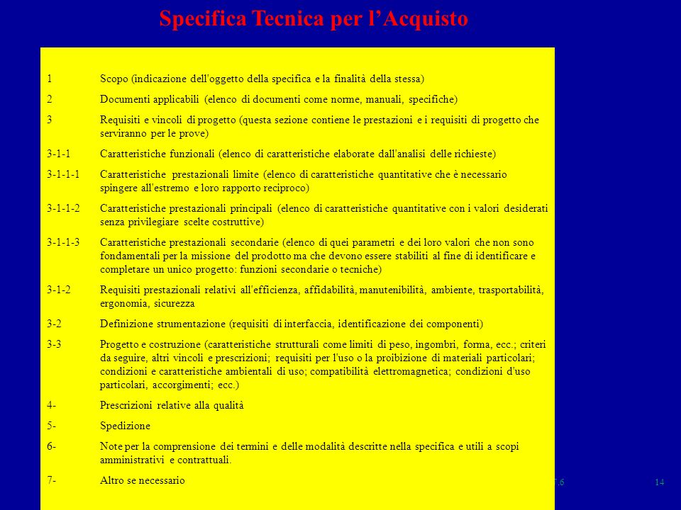 Specifica Tecnica per l'Acquisto
