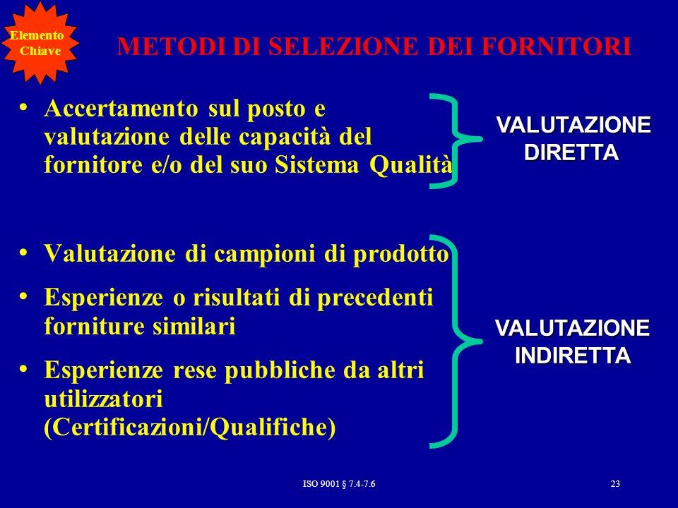 METODI DI SELEZIONE DEI FORNITORI