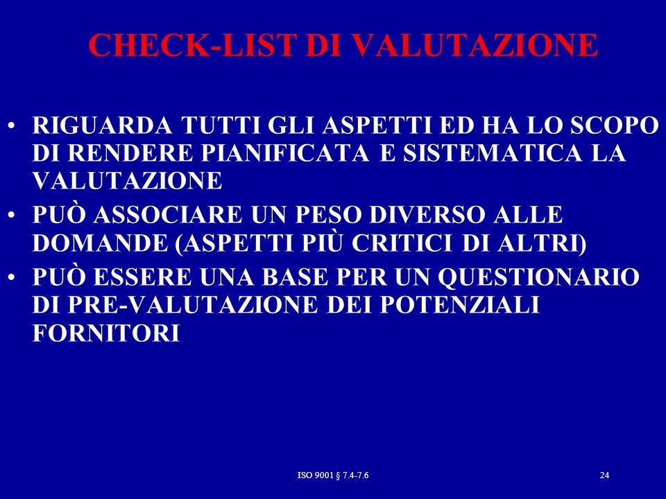 CHECK-LIST DI VALUTAZIONE