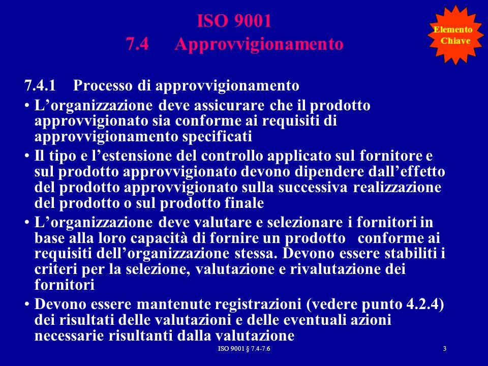 ISO 9001 7.4 Approvvigionamento